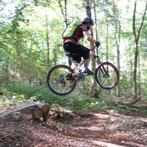 Riding jumps and single track at Friston Forest